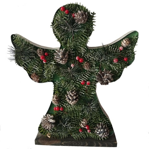 Fraser Hill Farm 15-In. Tall Angel-Shaped Metal Frame with Pinecones and Berries, Festive Indoor Christmas Decoration, FHFANGLFRM015-GRN1