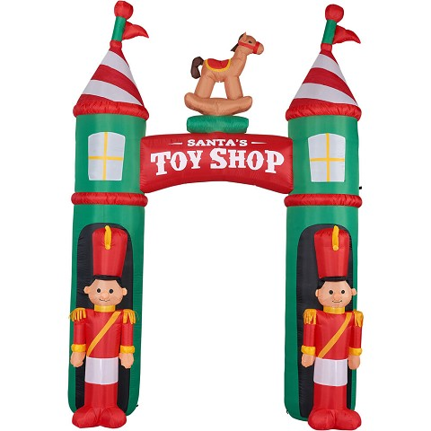 Fraser Hill Farm 10-Ft. Tall Santa's Toy Shop Archway with Toy Soldiers and Rocking Horse, Blow Up Inflatable with Lights and Storage Bag, FHFARCHWY081-L