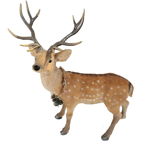 Fraser Hill Farm 4-Ft. Deer with Natural Wreath Collar, Festive Indoor Christmas Decoration, FHFDEER047-BRW1