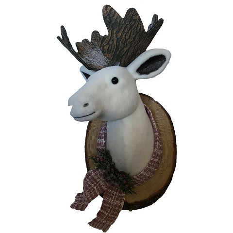 Fraser Hill Farm 24-In. Wall Hanging - Mounted Moose/Elk, Festive Indoor Christmas Decoration, FHFFELK024-WHT1