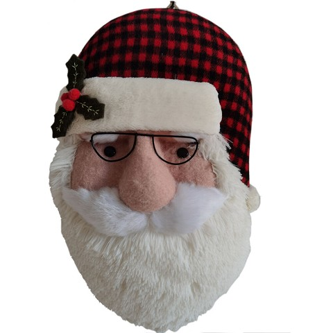 Fraser Hill Farm 18-In. Hanging Santa with Plaid Hat and Glasses, Festive Indoor Christmas Decoration, FHFSNTAWL018-WHT1