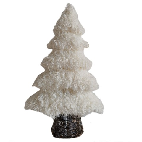 Fraser Hill Farm 24-In. White Furry Tree with Faux-Bark Trunk, Festive Indoor Christmas Decoration, FHFTREE024-WHT1