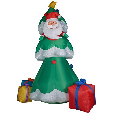 Fraser Hill Farm 20-Ft. Tall Christmas Tree with Santa and Gifts, Blow Up Inflatable with Lights and Storage Bag, FHFTREE201-L