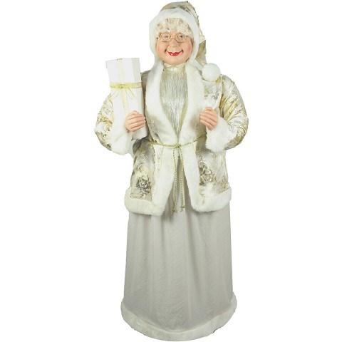 Fraser Hill Farm Life-Size Indoor Christmas Decoration, 5-Ft. Standing Mrs. Claus Holding a Gift & Wearing a Gold Brocade Jacket w/ Fur Trim, FMC058-0WT1