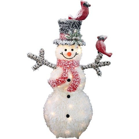 Fraser Hill Farm Indoor Flocked Tinsel Christmas Decorations, 3-Ft. Pre-Lit Plush Snowman with 2 Cardinals and 40 White LED Lights, FMG035-1SNM-WT2