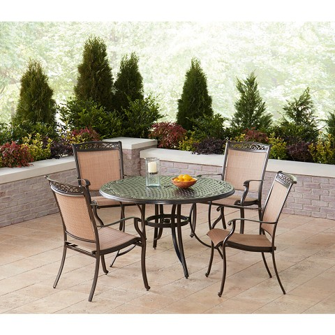 Hanover Fontana 5-Piece Outdoor Dining Set with 4 Sling Chairs and a 48-In. Cast-Top Table, FNTDN5PCC