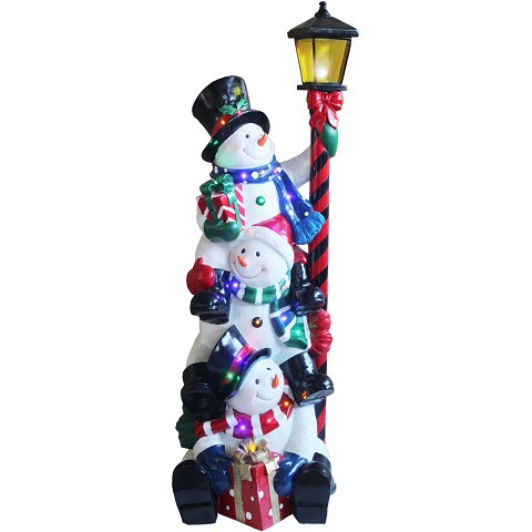 Fraser Hill Farm Indoor/Covered Outdoor Oversized Christmas Decoration, 4-Ft. Musical Stacking Snowman Trio with Lamp Post and LED Lights, FRS049-3SNM-WHT1