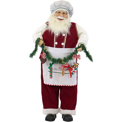 Fraser Hill Farm 36-In. Dancing Baking Santa with Apron and Christmas Cookie Garland, Animated Indoor Holiday Home Decor, FSC036-2RD7