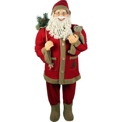 Fraser Hill Farm Life-Size Indoor Christmas Decoration, 5-Ft. Standing Santa Holding Bear & Gift Sack Wearing Red Plush Suit w/ Sherpa Trim, FSC058-0RD4