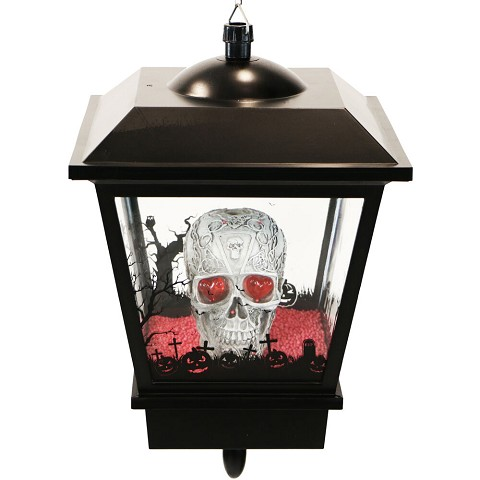 Haunted Hill Farm 18-In. Hanging Skull Halloween Lantern with Animation and Spooky Music, Black, FSHLSK018A-BLK1