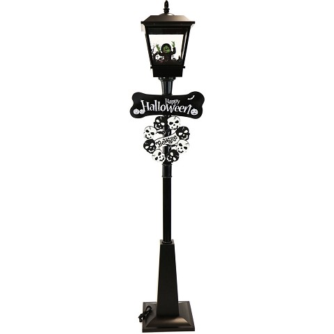 Haunted Hill Farm 71-In. Wicked Witch Lamp Post with Animation and Spooky Music, Black, FSSLWT071A-BLK1