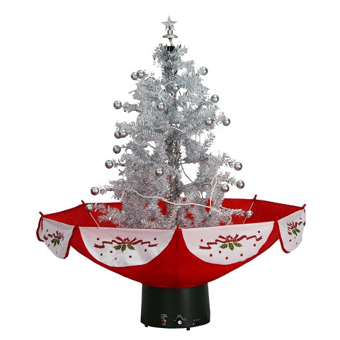 Fraser Hill Farm Let It Snow Series 29-In. White Tree with Star Topper and Red Umbrella Base, Animated Musical Snow, FSTR029A-WHT