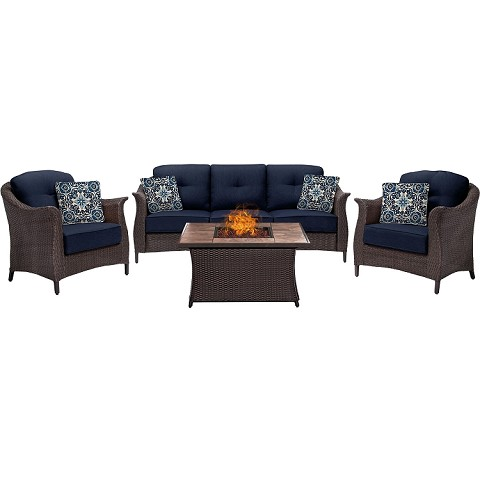 Gramercy 4PC Woven Fire Pit Set with Tan Porcelain Tile Top in Navy Blue - GRAM4PCFP-NVY-TN