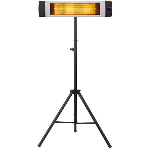 Hanover 34.6-In. Wide Electric Carbon Infrared Heat Lamp with Remote Control and Tripod Stand, Silver, HAN1041ICSLV-TP
