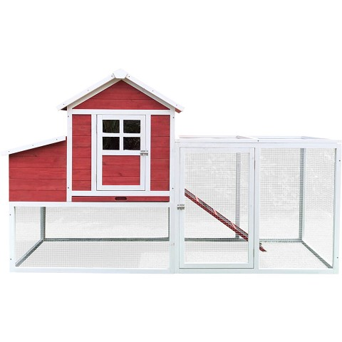 Hanover Outdoor Elevated Wooden Chicken Coop with Ramp, Nesting Box, Wire Mesh Run, Waterproof Roof, 3.9 Ft. x 6.5 Ft. x 2.6 Ft., HANCC0104-RED