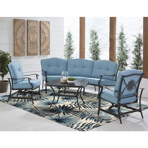 Hanover 4 Ft. x 6 Ft. Indoor/Outdoor Backless Rug with 5000 Hours of UV Protection - Tropical Palm Leaf Blue, HANRG4X6PLM-BLU