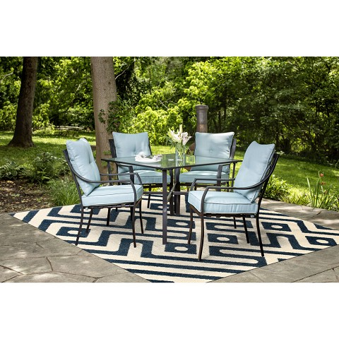 Hanover 79-Inch Square Indoor/Outdoor Backless Rug with 5000 Hours of UV Protection - Greek Key Royal Blue, HANRG79SQGK-BLU