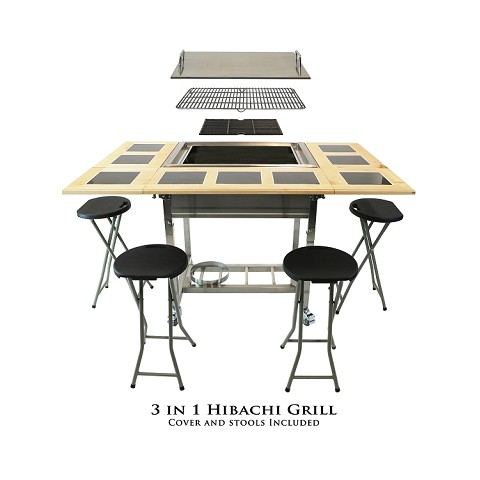 My Hibachi BBQ 3-in-1 Sit Around Grill with Flat Top Teppanyaki Griddle, BBQ Rack, and Cast Iron Grill - Propane Gas and Stainless Steel - Perfect for Outdoor Cooking and Portable for Tailgating, HBC1B