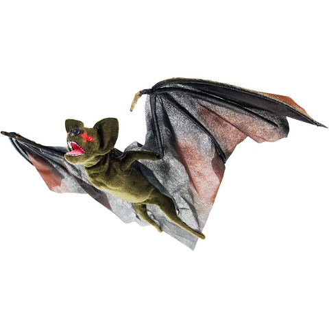 Haunted Hill Farm Animatronic Bat, Indoor/Outdoor Halloween Decoration, Flashing Eyes, Moving, Sounds, Evil Laugh, Battery-Operated, HHBAT-1HLSA