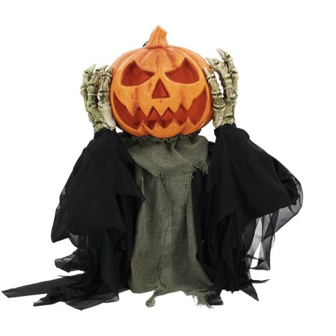 Haunted Hill Farm 25 In. Pop-Up Animatronic Pumpkin Head, Indoor/Outdoor Halloween Decoration, Flashing Red Face, Battery-Operated, HHFJPUMP-1LSA