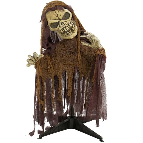Haunted Hill Farm 36 In. Animatronic Reaper, Indoor/Outdoor Halloween Decoration, Flashing Red Eyes, Poseable, Battery-Operated, HHFJSKEL-4LSA