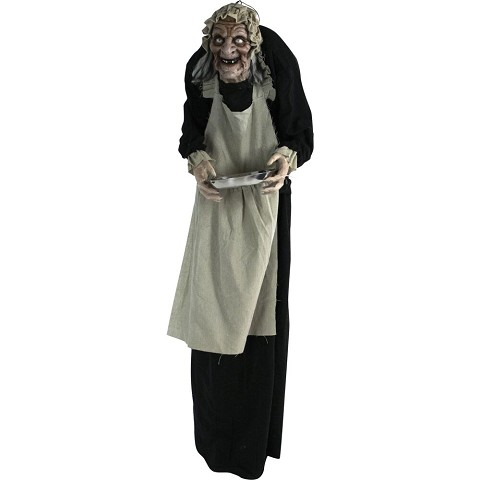 Haunted Hill Farm Life-Size Animatronic Zombie Maid, Indoor/Outdoor Halloween Decoration, Flashing Red Eyes, Battery-Operated, Moving, HHLADY-4FLSA