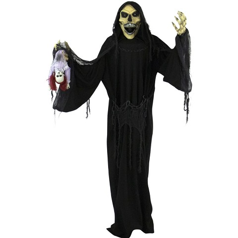 Haunted Hill Farm Life-Size Animatronic Reaper, Indoor/Outdoor Halloween Decoration, Flashing Colorful Eyes, Poseable, Battery-Operated, HHRPR-6FLSA