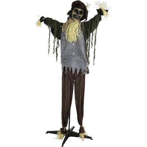 Haunted Hill Farm Life-Size Animatronic Scarecrow, Indoor/Outdoor Halloween Decoration, Laughing, Poseable, Battery-Operated, HHSCR-2FLSA