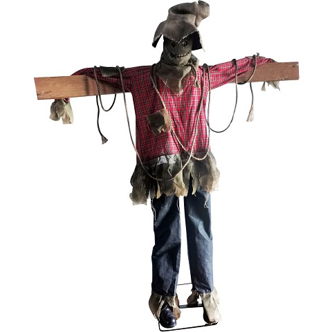 Haunted Hill Farm Life-Size Animatronic Scarecrow, Indoor/Outdoor Halloween Decoration, Laughing, HHSCR-3FLSA
