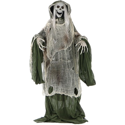 Haunted Hill Farm Life-Size Animated Moaning Skeleton Prop w/ Rotating Head for Indoor or Outdoor Halloween Decoration, Battery-Operated, HHSKEL-1FLSA