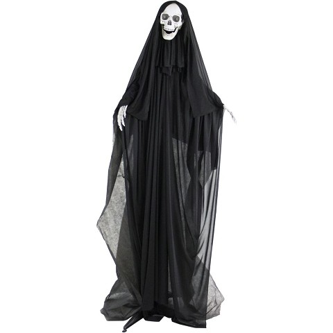 Haunted Hill Farm Life-Size Animatronic Reaper, Indoor/Outdoor Halloween Decoration, Light-up Red Eyes, Poseable, Battery-Operated, HHSKEL-3FLSA