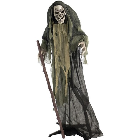 Haunted Hill Farm Life-Size Animatronic Reaper Indoor/Outdoor Halloween Decoration, Flashing Red Eyes, Poseable, Battery-Operated, HHSKEL-7FLSA