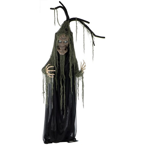 Haunted Hill Farm Life-Size Animated Haunted Talking Tree Prop w/ Moving Mouth for Indoor or Outdoor Halloween Decoration, Battery-Operated, HHTREE-1FLS