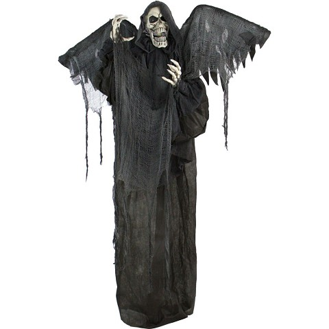 Haunted Hill Farm Life-Size Animatronic Reaper, Indoor/Outdoor Halloween Decoration, Flashing Red Eyes, Poseable, Battery-Operated, HHWINGSKEL-2FLSA