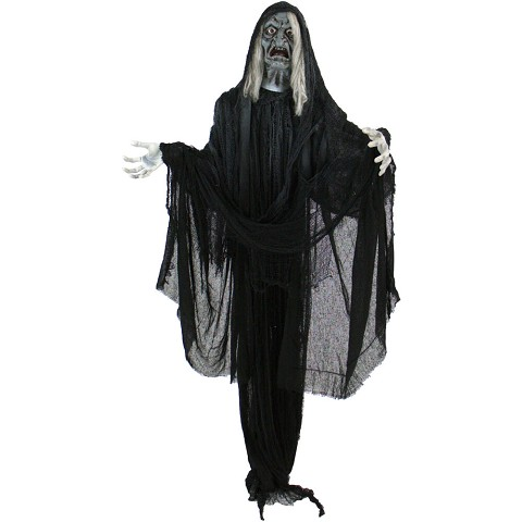 Haunted Hill Farm Life-Size Animatronic Witch, Indoor/Outdoor Halloween Decoration, Talking, Poseable, Battery-Operated, HHWITCH-11FLSA