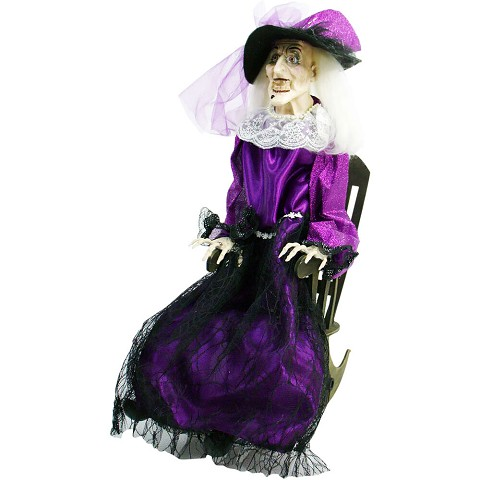 Haunted Hill Farm Animatronic Witch, Indoor/Outdoor Halloween Decoration, Talking, Moving, Battery-Operated, HHWITCH-12FLSA