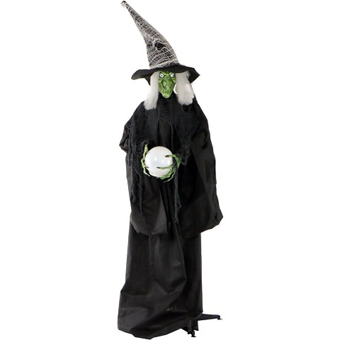 Haunted Hill Farm Life-Size Animated Wicked Witch Prop w/ LED Crystal Ball for Indoor or Outdoor Halloween Decoration, Battery-Operated, HHWITCH-1FLS