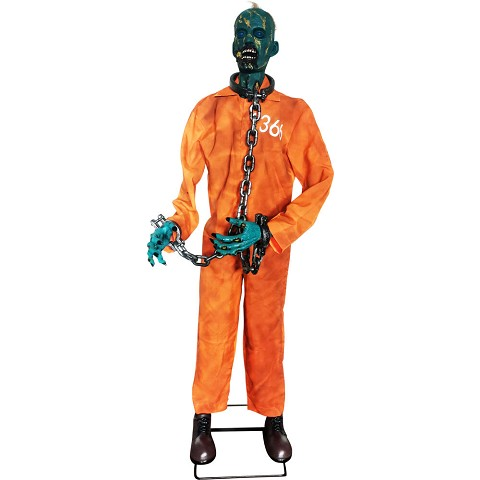 Haunted Hill Farm Life-Size Animatronic Zombie, Indoor/Outdoor Halloween Decoration, Laughing, Poseable, Battery-Operated, HHZOMB-6FLSA