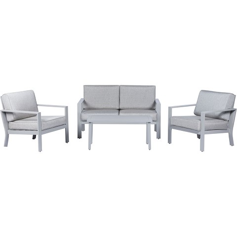 Mod Kinsley 4-Piece Chat Set with 2 Side Chairs, Loveseat, and Slat Top Coffee Table, KINS4PC-GRY