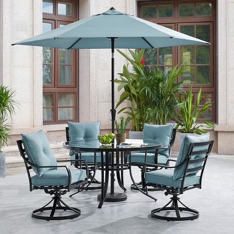 2b29f423a00b Hanover Lavallette 5-Piece Dining Set in Ocean Blue with 4 Swivel Rockers,  52-In. Round Glass-Top Table, Umbrella ...