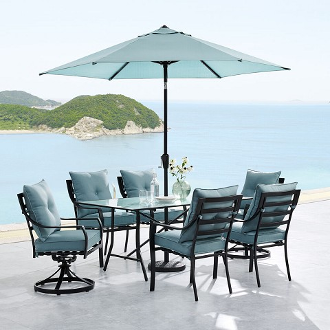 "Hanover Lavallette 7-PC. Dining Set in Ocean Blue w/ 4 Chairs, 2 Swivel Rockers, 66"" x 38"" Glass-Top Table, Umbrella, and Base, LAVDN7PCSW2-BLU-SU"