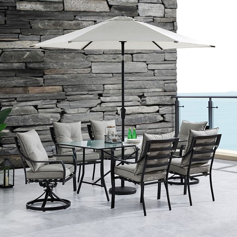 "Hanover Lavallette 7-PC. Dining Set in Silver Linings w/ 4 Chairs, 2 Swivel Rockers, 66"" x 38"" Glass-Top Table, Umbrella, and Base, LAVDN7PCSW2-SLV-SU"