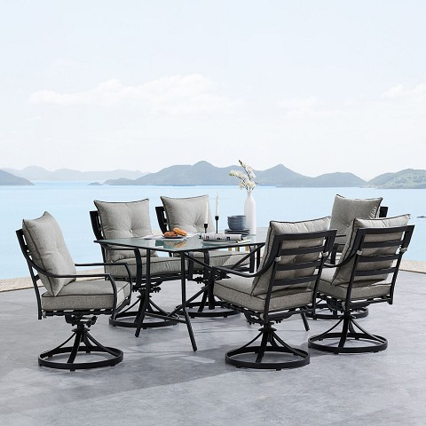 "Hanover Lavallette 7-Piece Dining Set in Silver Linings with 6 Swivel Rockers and a 66"" x 38"" Glass-Top Table, LAVDN7PCSW-SLV"