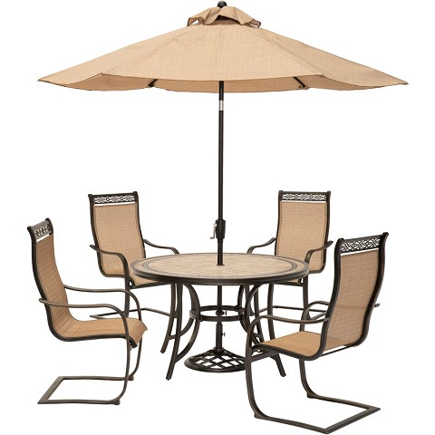 Monaco 5PC Outdoor Dining Set with C-Spring Chairs, Tile-top Table, and 9 Ft. Umbrella - MONDN5PCSP-SU