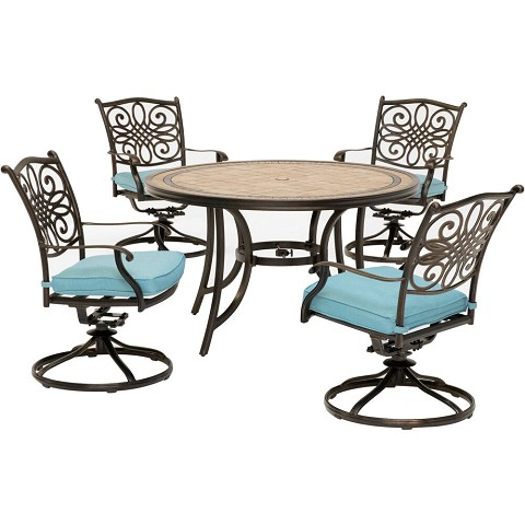 Hanover Monaco 5-Piece Dining Set in Blue with Four Swivel Rockers and a 51 In. Tile-Top Table - MONDN5PCSW-4-BLU