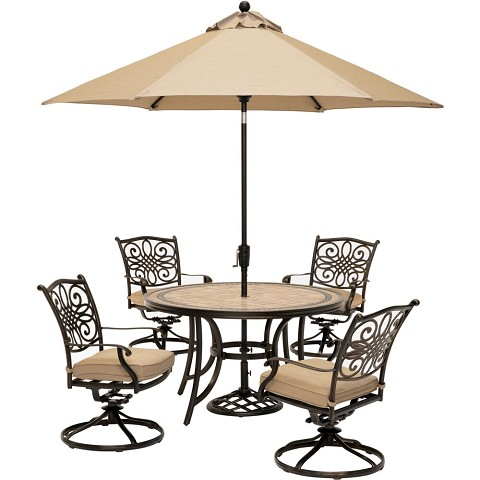Hanover Monaco 5-Piece Dining Set in Tan with 4 Cushioned Dining Chairs, a 51 In. Tile-Top Table, and a 9 Ft. Umbrella - MONDN5PCSW4-SU