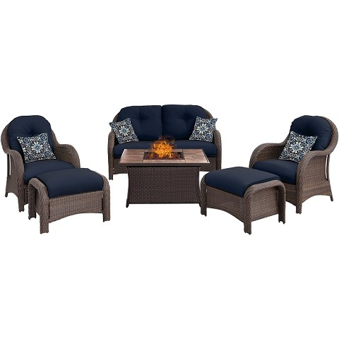 Newport 6PC Woven Fire Pit Set with Tan Porcelain Tile Top in Navy Blue - NEWPT6PCFP-NVY-TN