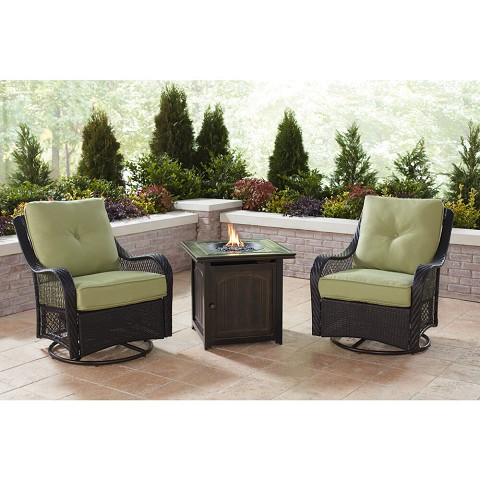 Hanover Orleans 3-Piece Fire Pit Chat Set in Green Jasmine with 2 Woven Swivel Gliders and a 26-In. Square Fire Pit Side Table, ORL3PCFPSQ-GRN