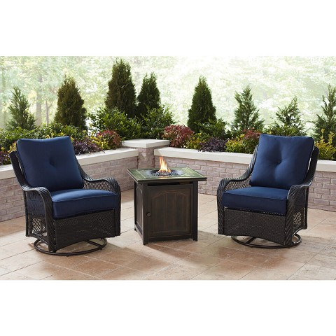 Hanover Orleans 3-Piece Fire Pit Chat Set in Navy Blue with 2 Woven Swivel Gliders and a 26-In. Square Fire Pit Side Table, ORL3PCFPSQ-NVY