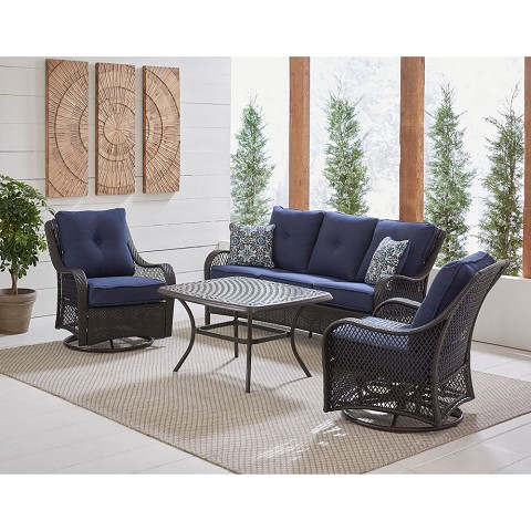 Hanover Orleans 4-Piece Woven Lounge Set in Navy Blue with 2 Woven Swivel Gliders, Sofa, and a Cast-top Coffee Table, ORL4PCCTSW2-NVY
